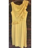 Antonio Melani Yellow Silk Dress Size 2 Detailed Shoulder Waist Belle Go... - $27.88