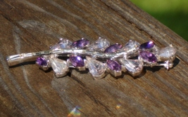 Vintage Crown Trifari Amethyst Purple Rhinestone Abstract Floral Leaf Br... - $1,895.00