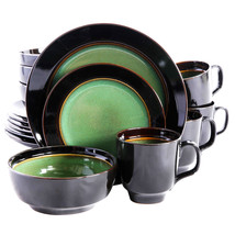 Bella Galleria 16 piece Reactive Dinnerware Set in Green and Black - $56.24