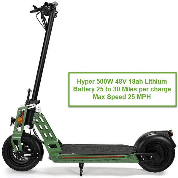 HYPER 500W Electric Scooter 48V 18ah Lithium Battery an Eco-Friendly Scooter