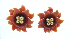 CORO Orange Red Enamel Flower Gold Tone Clip-On Earrings Vintage - $24.74