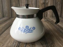 Vintage Corning Ware Blue Cornflower 6 Cup Coffee Tea Pot Kettle Metal L... - $16.59