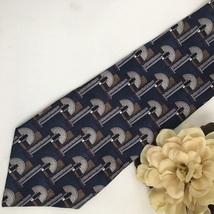 Pierre Cardin Blue & Gray Print men's silk business tie - $11.95