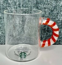 IN HAND Starbucks Holiday 2020 12oz Glass Candy Cane Handle Mug New Rele... - $39.48