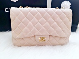 AUTHENTIC CHANEL BEIGE QUILTED LAMBSKIN JUMBO CLASSIC FLAP BAG GOLD HARDWARE
