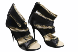NEW Giuseppe Zanotti Black Leather Gold Cuff Cage Gladiator Sandal 38.5 Italy image 1
