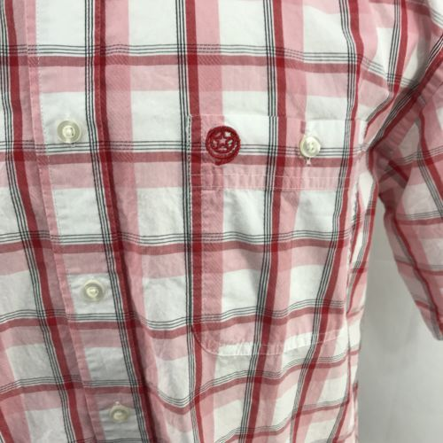 George Strait Wrangler Red White Button Up Large Short Sleeve Western Shirt