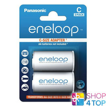2 Panasonic Eneloop Battery Adapter Aa R6 To C R14 Size Converter Spacer Case - $7.39