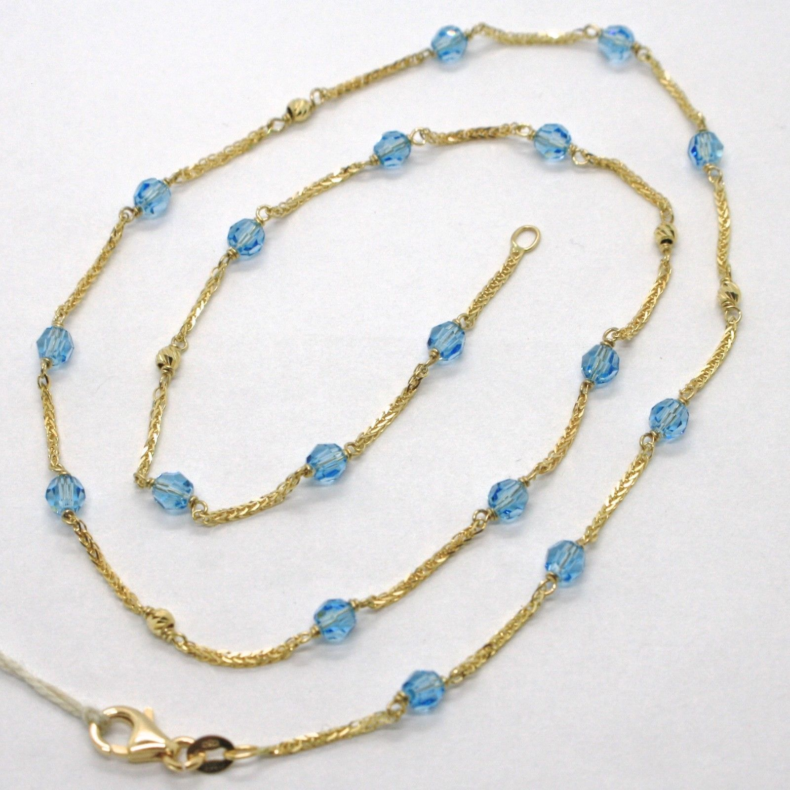 18K YELLOW GOLD NECKLACE EAR SQUARE CHAIN ALTERNATE WITH FACETED BLUE BALLS 4 MM