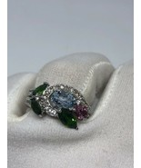 Vintage Real Mixed Colored Gemstone 925 Sterling Silver Size 6.75 Ring - $122.76