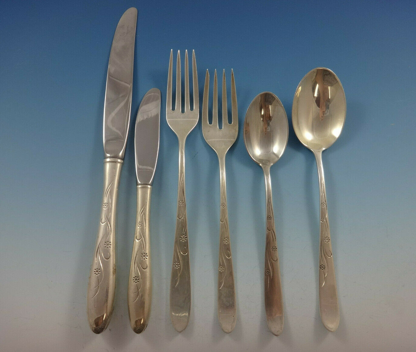 Primary image for Cynthia Engraved by Kirk Sterling Silver Flatware Service For 12 Set 77 Pieces
