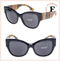 BURBERRY 4294 Vintage Check Print Crystal Black Oversized Sunglasses BE4... - $177.21