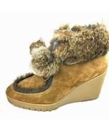 "COACH ""Kataya"" Q012 Brown Suede Rabbit Fur Trim Lace Up Wedge Booties Si... - $158.39"