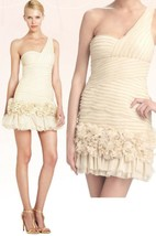 $428 BCBG Maxazria Barbie Metallic Gold One Shoulder Tulle Rosette Dress 12 - $139.50