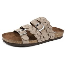 White Mountain Shoes Holland Women's Sandal, Grey/Leather, 7 M - $38.16