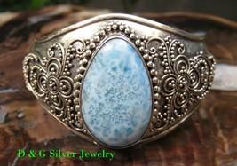 Silver & Carribean Larimar Bali Designer Cuff Bangle Bracelet SBB-463-DG - $135.00