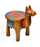 Handcrafted Decorative Multicolored Wooden Camel Stool, Decorative Stool - $58.99