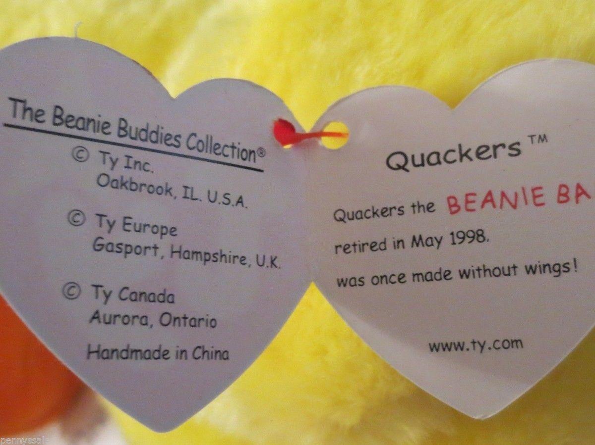 Ty Beanie Buddy Quackers 1998 Gasport Tag Error Ages 3+ image 2