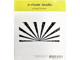 A-Muse Studio Grunged Sunrays Rubber Stamp #SJEF001