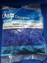 Darice Tri-beads transparent blue1000 pcs new Kids craft supplies lot - $8.90