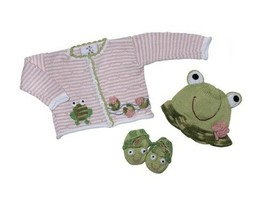 Handmade Baby Girls Sweater Hat Booties Size 18 Months Pink Green Frog NEW - $26.02