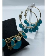 Guess Signature Gold Tone Hoop Earrings & Bracelet Set Turquoise color D... - $16.79