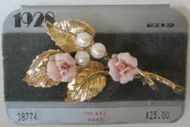 Vintage 1928 Pink Porcelain Roses Faux Pearls Gold Tone Leaves Brooch Pi... - $22.95