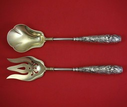 H 130 by Gorham Sterling Silver Salad Serving Set 2pc GW HH Hand Cast w /Lilies - $809.00