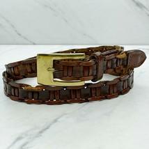 Brown Vintage Braided Woven Genuine Leather Belt Size Medium M - $18.60