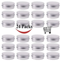 30 ml Silver Small Aluminum Round Lip Balm Tin Storage Jar Containers wi... - $12.85