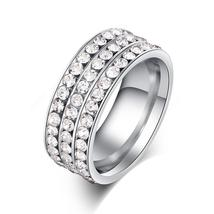 Personalized Engraved Stainless Steel 8mm Pave Set Luxury CZ Eternity Anniversar image 2