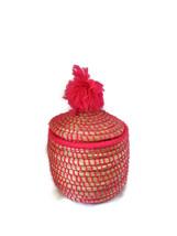 Vintage Hand Made Moroccan Straw Pink Basket Multi Usage Storage Home D... - $25.00