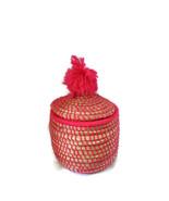 Vintage Hand Made Moroccan Straw Pink Basket Multi Usage Storage Home Decore. - $45.00