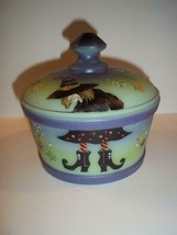 """Fenton Mosser Glass """"Which Witch"""" Halloween Candy Dish Covered Box Ltd E... - $222.61"""
