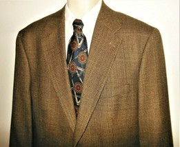 Polo Ralph Lauren Sport Coat 43L Wool Plaid Brown Blue Blazer Mens Jacket LONG - $48.99