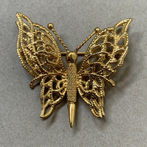 Vintage Monet Butterfly Brooch Pin Gold Tone Open Work Signed Textured - $14.80