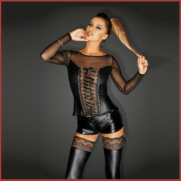 Faux Leather 2 Piece Laceup Sheer Long Sleeve Top n Zip Up Crotch Hip Huggers