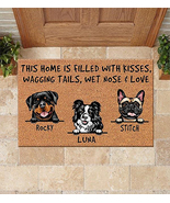 Personalized This Home Is Filled With Kisses Dogs Doormat, Custom Name B... - $29.65+