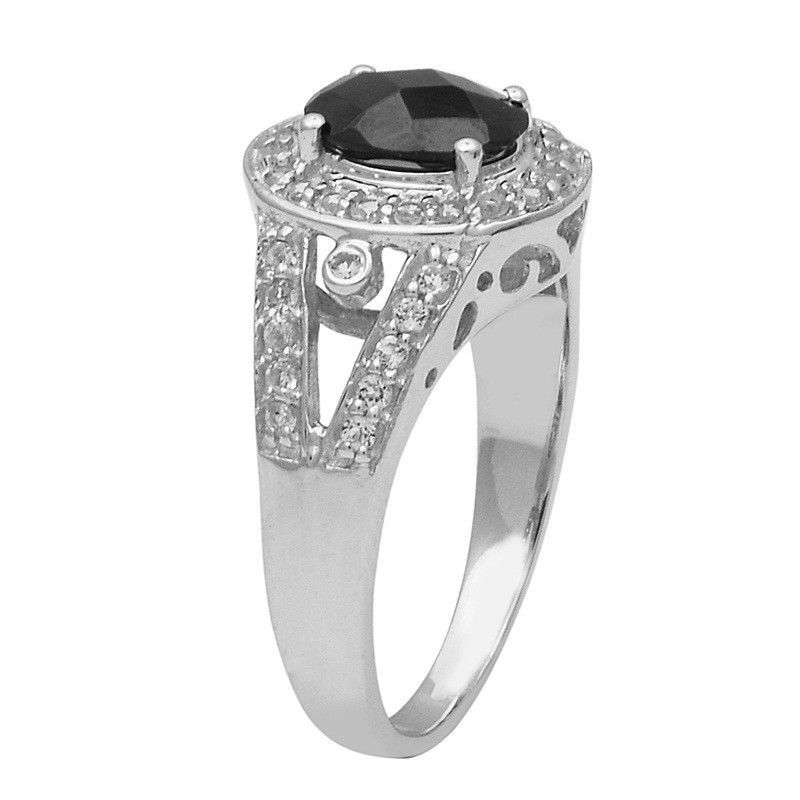 Black Spinel With White Topaz 925 Sterling Silver Ring Jewelry Size-9 SHRI1461