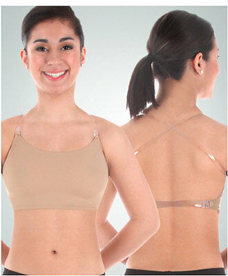 Primary image for Body Wrappers 275 Women's Size Small Nude Halter Top Bra w/ Clear Adj. Straps