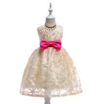 Flower Girls Dress Champagne Lace Wedding Girls Pageant Gowns Short off ... - $33.00