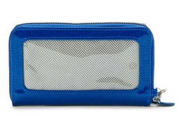 No Boundaries Ladies Zip Around Wristlet Wallet Blue See Through On Side... - €11,26 EUR