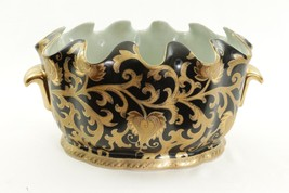 Beautiful Black and Gold Tapestry Oval Scallop Rim Pot - $108.89