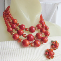Vintage Orange Spice Acrylic Crystal Bead Choker Necklace Earrings Set F... - $16.19