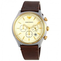 Armani AR11033 Brown Leather Chronograph White Dial Men's Watch - $125.89