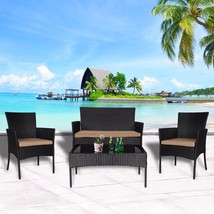 4 PC Wicker Rattan Patio Set Cushioned Furniture Outdoor Lawn Sectional ... - $209.99