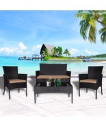 4 PC Wicker Rattan Patio Set Cushioned Furniture Outdoor Lawn Sectional ... - $199.99