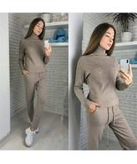 Winter Knitted Warm Suit Casual High Collar Sweater   Sweater Pants Loos... - $156.50