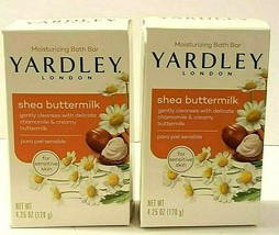 Yardley SHEA BUTTERMILK BAR SOAP LOT of 2 Bars @4.25oz per bar. Smells h... - $3.71