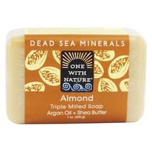 One With Nature Dead Sea Mineral Bar Soap Mild Exfoliating Almond, 7 Ounces - $8.15